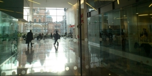 View from inside the Microsoft UK building at Cardinal Place, London