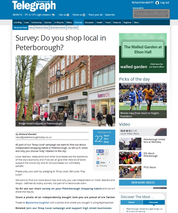 Shop Local survey story screenshot