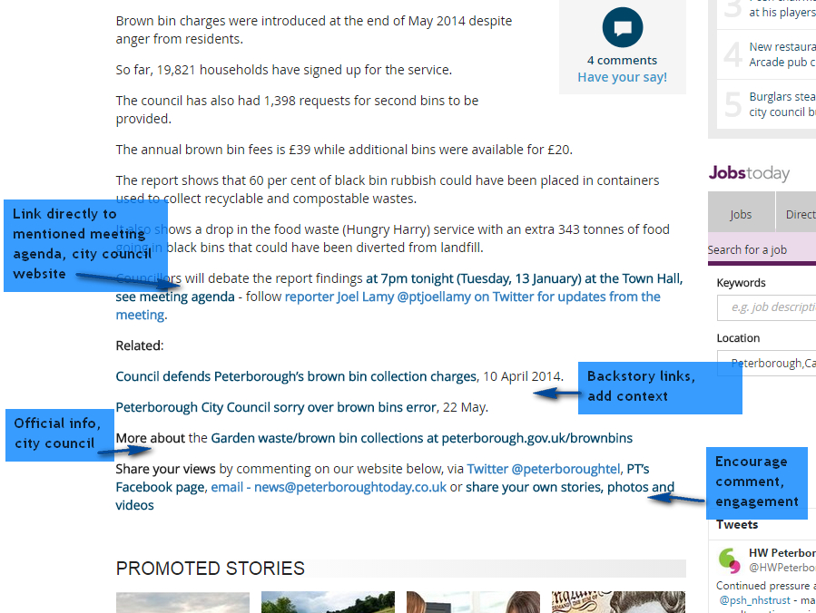 Peterborough Telegraph web article page with annotations